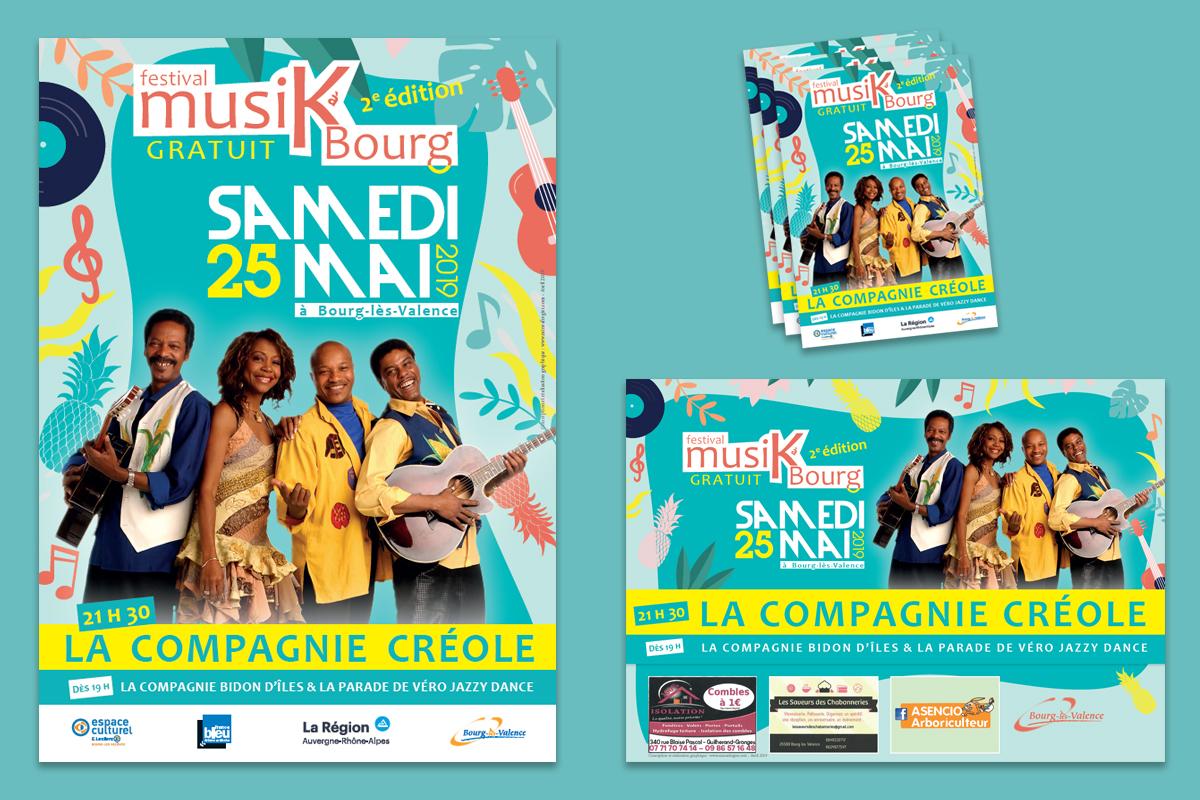 Kit visuel de communication événementielle pour le Festival de musiques MusiKàBourg de la Ville de Bourg-Lès-Valence - édition 2019