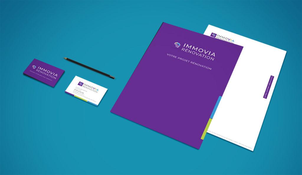 Création identité visuelle Immovia Rénovation (cartes de visite, papier en-tête, page de garde)