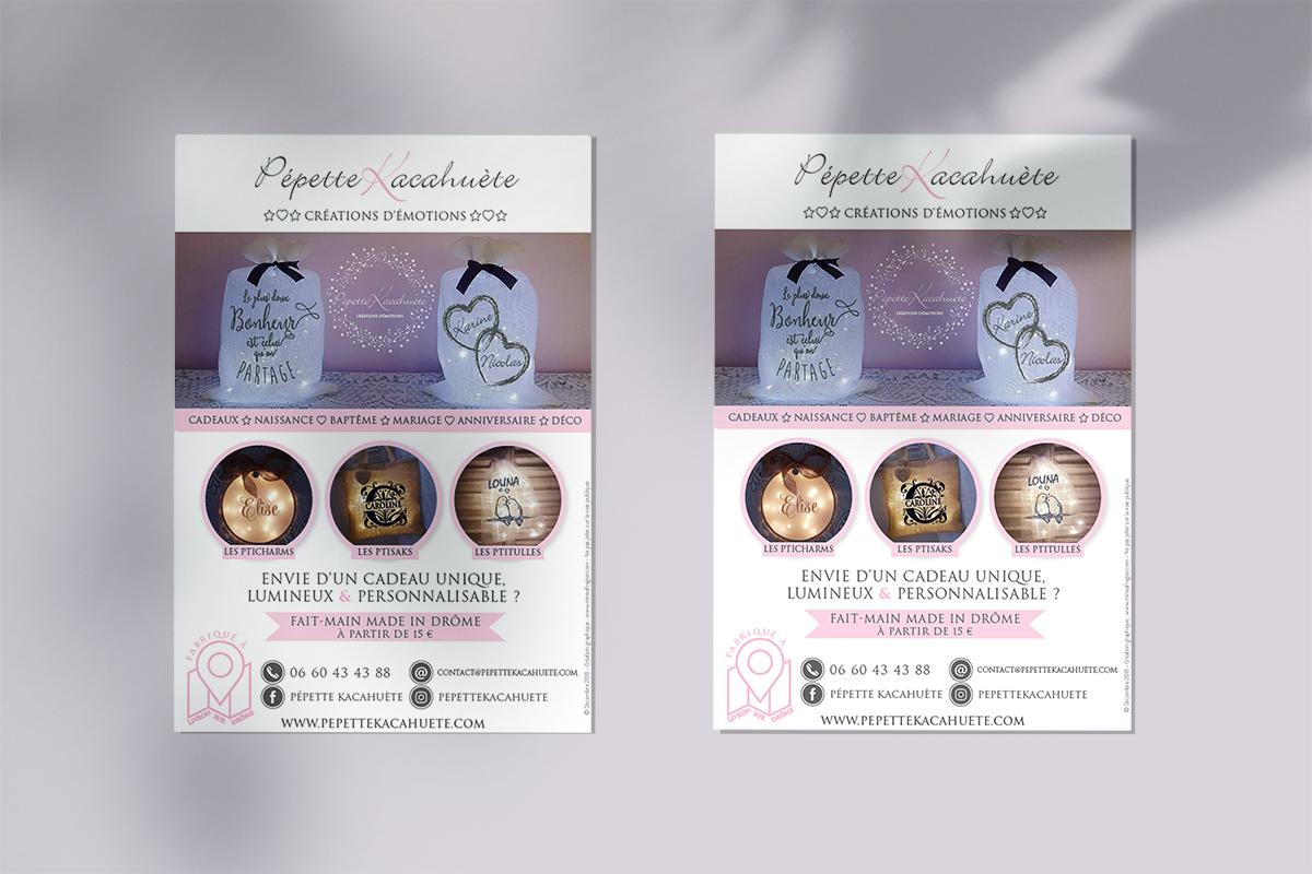 Création d'un flyer de notoriété pour Pepette Kacahuète artisan d'objets décoratifs personnalisés et lumineux à Valence dans la Drôme