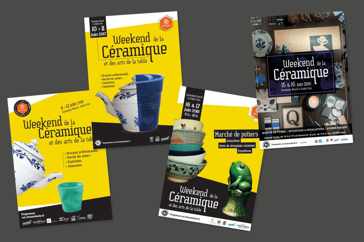 Communication événementielle du Weekend de la Céramique de Saint-Uze. 4 éditions.