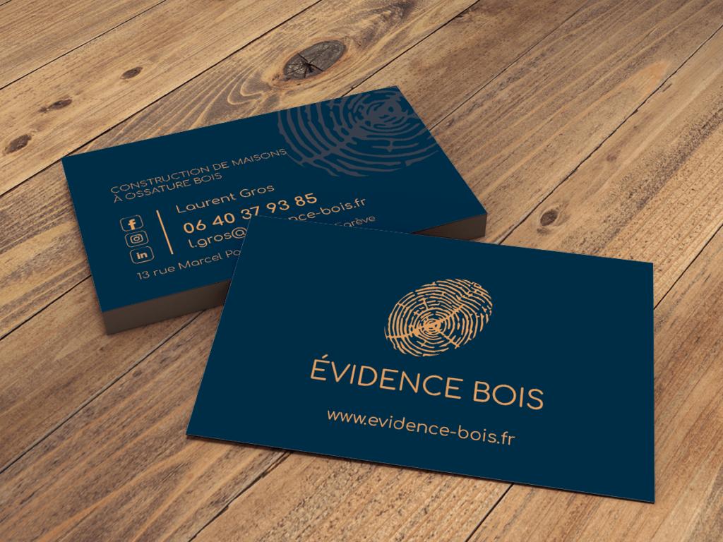 Carte de visite Evidence Bois élégantes et sobres - nouvelle identité visuelle